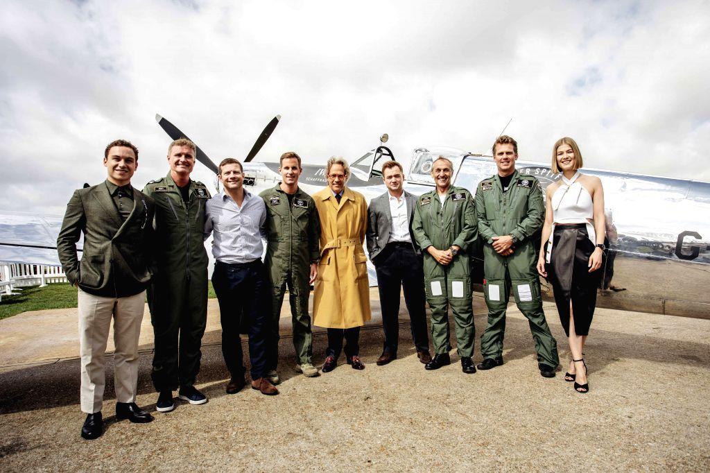 "London, Aug. 5, 2019 - Photo provided by Goodwood shows pilots and guests attending the celebration of the official start of the ""Silver Spitfire - The Longest Flight"" expedition in ..."