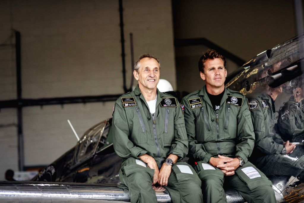 "London, Aug. 5, 2019 - Photo provided by Goodwood shows Pilots Steve Brooks (L) and Matt Jones attending the celebration of the official start of the ""Silver Spitfire - The Longest Flight"" ..."