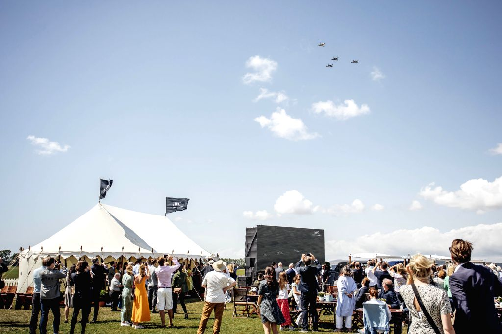 "London, Aug. 5, 2019 - Photo provided by Goodwood shows guests watching the official start of the ""Silver Spitfire - The Longest Flight"" expedition in Goodwood, West Sussex, Britain, on ..."