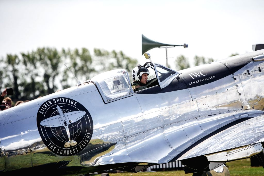 "London, Aug. 5, 2019 - Photo provided by Goodwood shows Pilot Matt Jones ahead of the official start of the ""Silver Spitfire - The Longest Flight"" expedition in Goodwood, West Sussex, ..."