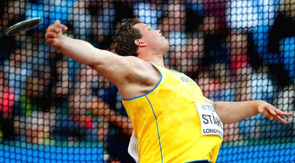 LONDON, Aug. 7, 2017 - Daniel Stahl of Sweden competes during Men's Discus Throw Final on Day 2 of the 2017 IAAF World Championships at London Stadium in London, Britain, on Aug. 5, 2017.