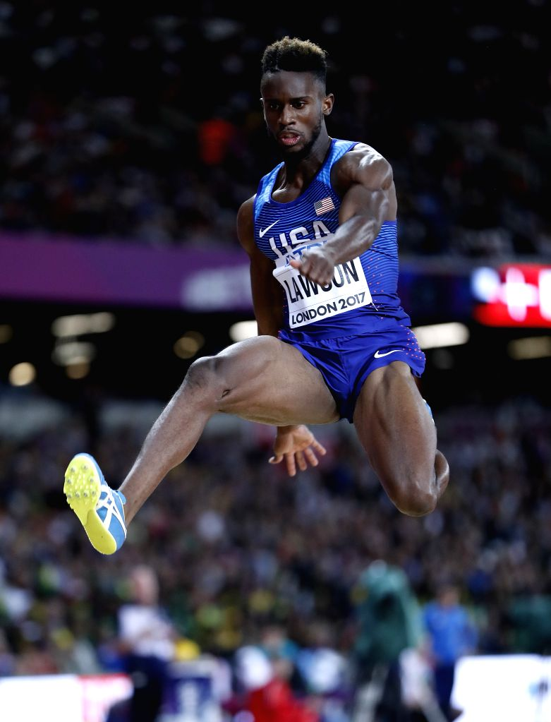 LONDON, Aug. 7, 2017 - Jarrion Lawson of the United States competes during Men's Long Jump Final on Day 2 of the 2017 IAAF World Championships at London Stadium in London, Britain, on Aug. 5, 2017. ...