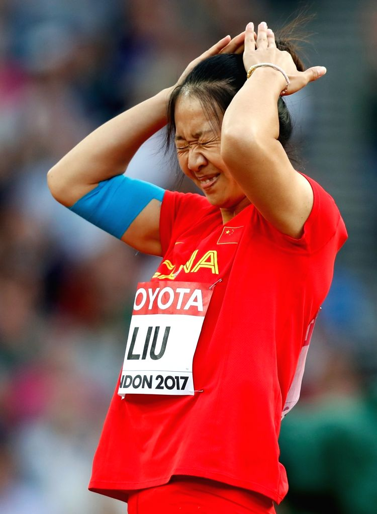 LONDON, Aug. 7, 2017 - Liu Shiying of China reacts during Women's Javelin Throw Qualification on Day 3 of the 2017 IAAF World Championships at London Stadium in London, Britain, on Aug. 6, 2017.