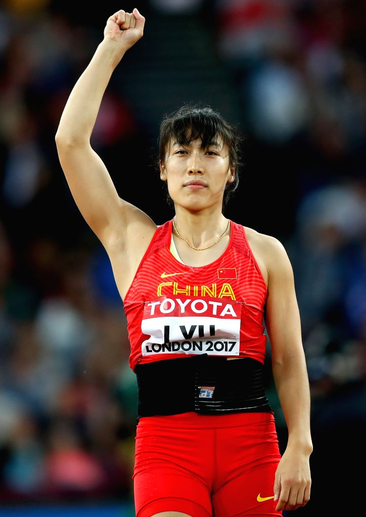 LONDON, Aug. 7, 2017 - Lyu Huihui of China celebrates after Women's Javelin Throw Qualification on Day 3 of the 2017 IAAF World Championships at London Stadium in London, Britain, on Aug. 6, 2017.