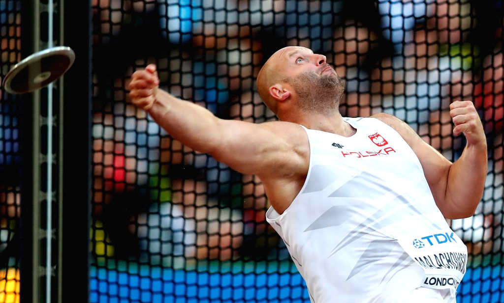 LONDON, Aug. 7, 2017 - Piotr Matachowski of Poland competes during Men's Discus Throw Final on Day 2 of the 2017 IAAF World Championships at London Stadium in London, Britain, on Aug. 5, 2017.