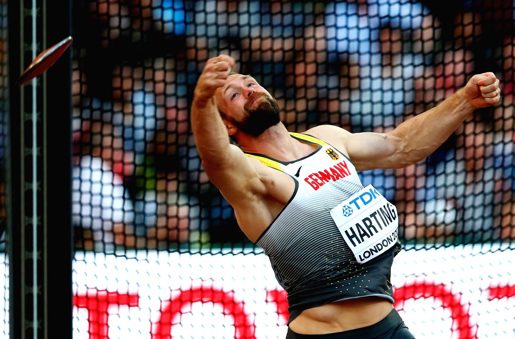 LONDON, Aug. 7, 2017 - Robert Harting of Germany competes during Men's Discus Throw Final on Day 2 of the 2017 IAAF World Championships at London Stadium in London, Britain, on Aug. 5, 2017.