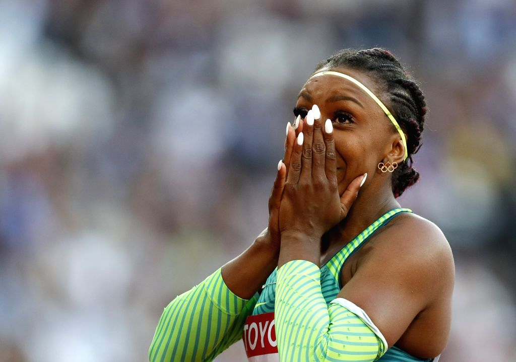 LONDON, Aug. 7, 2017 - Rosangela Santos of Brazil reacts after the women's 100m semi-final on Day 3 at the IAAF World Championships 2017 in London, Britain on Aug. 6, 2017.