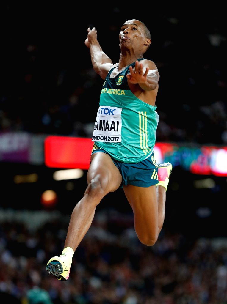 LONDON, Aug. 7, 2017 - Ruswahl Samaai of South Africa competes during Men's Long Jump Final on Day 2 of the 2017 IAAF World Championships at London Stadium in London, Britain, on Aug. 5, 2017. ...