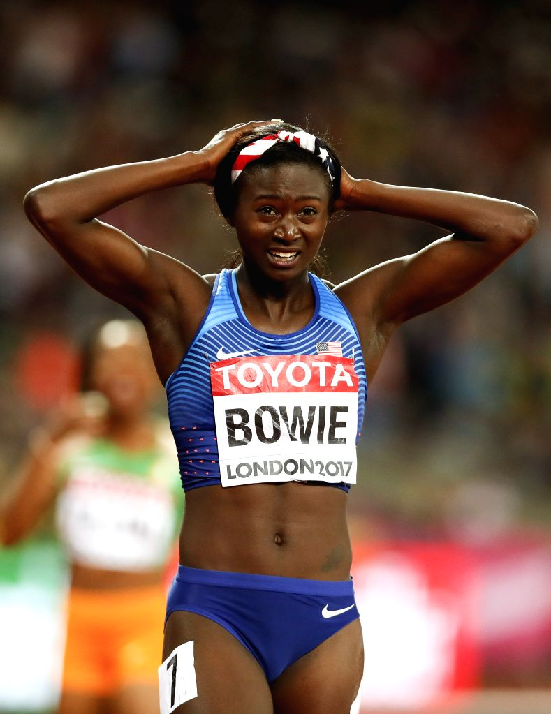 LONDON, Aug. 7, 2017 - Tori Bowie of the United States reacts after the women's 100m final on Day 3 at the IAAF World Championships 2017 in London, Britain on Aug. 6, 2017.