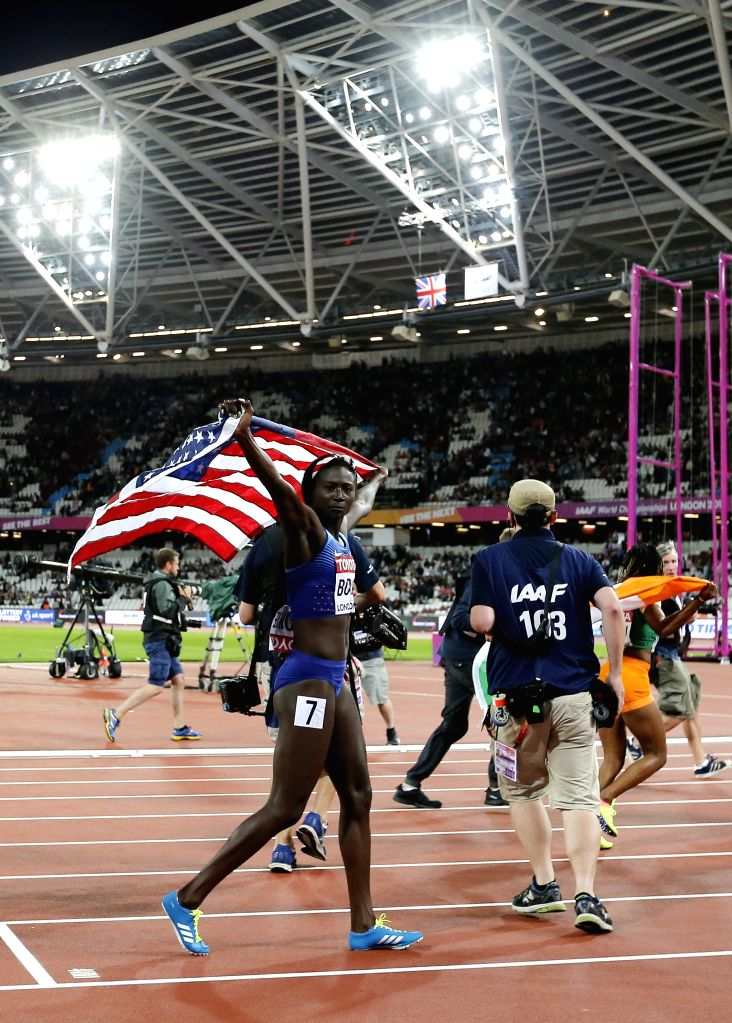 LONDON, Aug. 7, 2017 - Tori Bowie of the United States celebrates after the women's 100m final on Day 3 at the IAAF World Championships 2017 in London, Britain on Aug. 6, 2017.