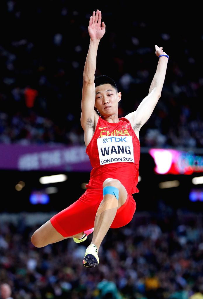LONDON, Aug. 7, 2017 - Wang Jianan of China competes during Men's Long Jump Final on Day 2 of the 2017 IAAF World Championships at London Stadium in London, Britain, on Aug. 5, 2017.