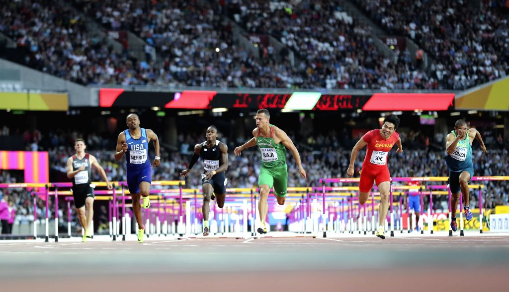 LONDON, Aug. 7, 2017 - Xie Wenjun (2nd R) of China competes during the men's 110m hurdles semi-final on Day 3 at the IAAF World Championships 2017 in London, Britain on Aug. 5, 2017.