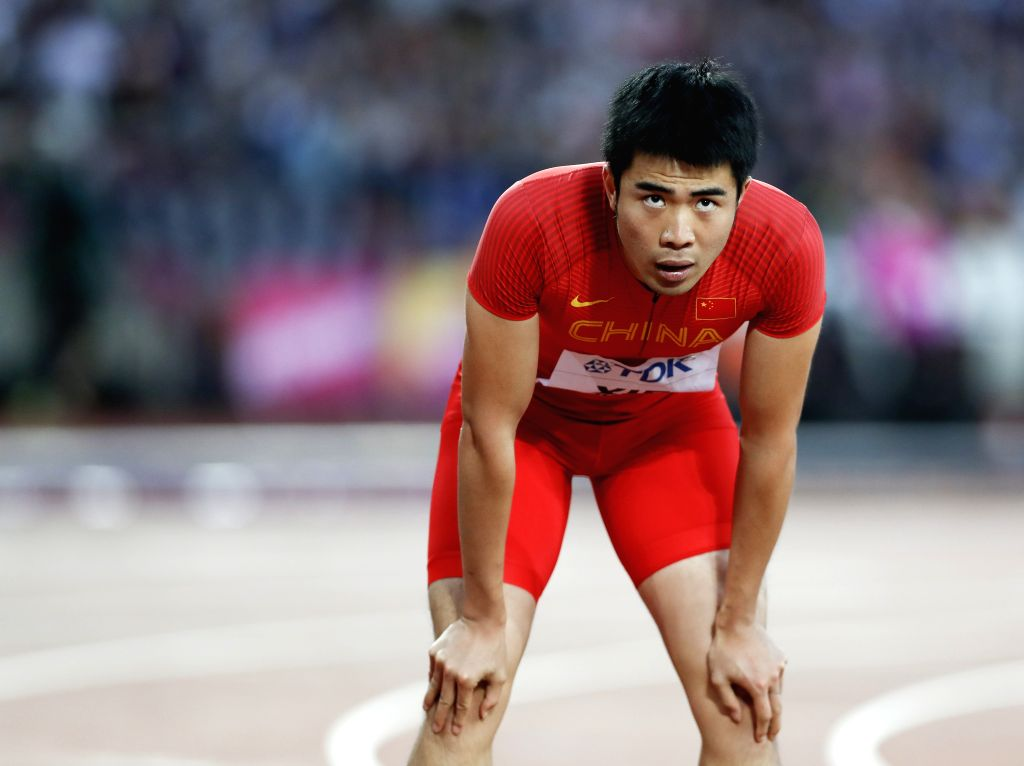 LONDON, Aug. 7, 2017 - Xie Wenjun of China reacts after the men's 110m hurdles semi-final on Day 3 at the IAAF World Championships 2017 in London, Britain on Aug. 5, 2017.