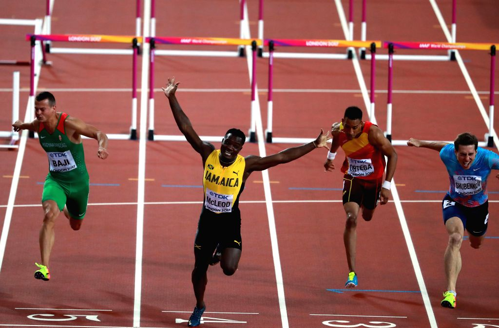 LONDON, Aug. 8, 2017 - Omar McLeod (2nd L) of Jamaica competes during Men's 110m Hurdles Final on Day 4 of the 2017 IAAF World Championships at London Stadium in London, Britain, on Aug. 8, 2017. ...