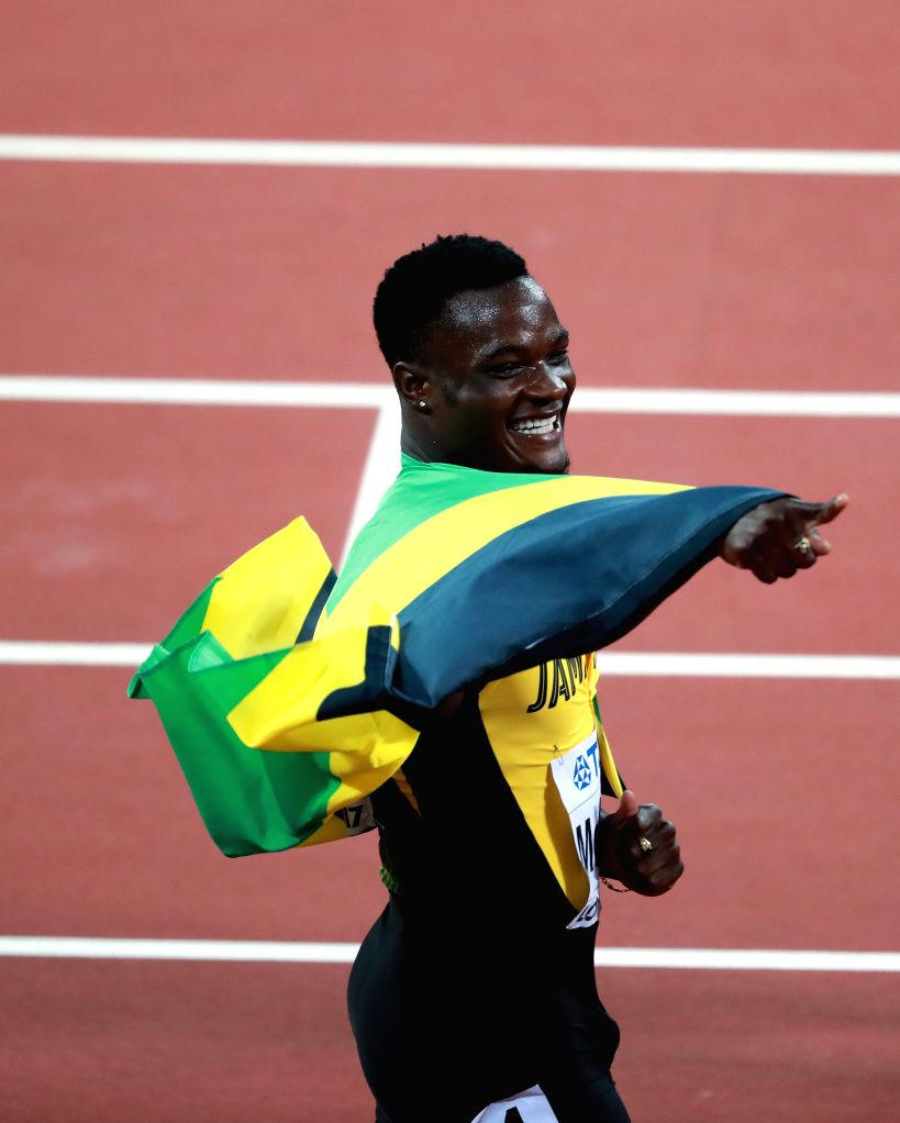 LONDON, Aug. 8, 2017 - Omar McLeod of Jamaica celebrates after winning Men's 110m Hurdles Final on Day 4 of the 2017 IAAF World Championships at London Stadium in London, Britain, on Aug. 8, 2017. ...