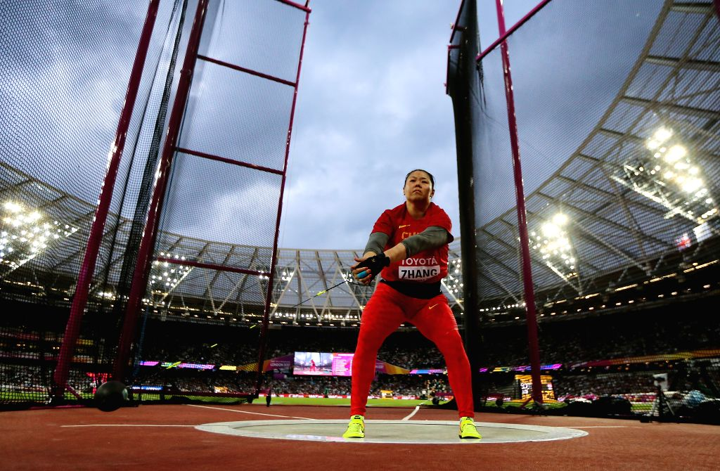LONDON, Aug. 8, 2017 - Zhang Wenxiu of China competes during Women's Hammer Throw Final on Day 4 of the 2017 IAAF World Championships at London Stadium in London, Britain, on Aug. 8, 2017. Zhang ...
