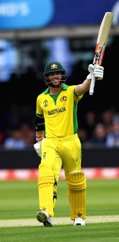 London: Australia's David Warner celebrates his half century during the 32nd match of 2019 World Cup between Australia and England at Lord's Cricket Ground in London, England on June 25, 2019. (Photo Credit: Twitter/@ICC)