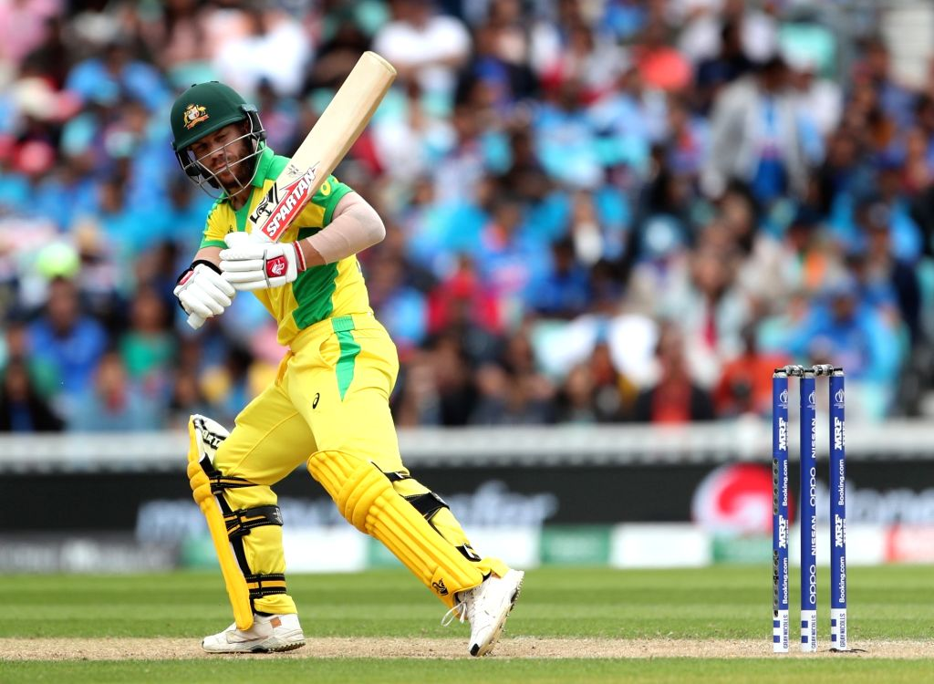 London: Australia's David Warner in action during the 14th match of 2019 World Cup between India and Australia at Kennington Oval in London on June 9, 2019. (Photo: Surjeet Yadav/IANS) - Surjeet Yadav