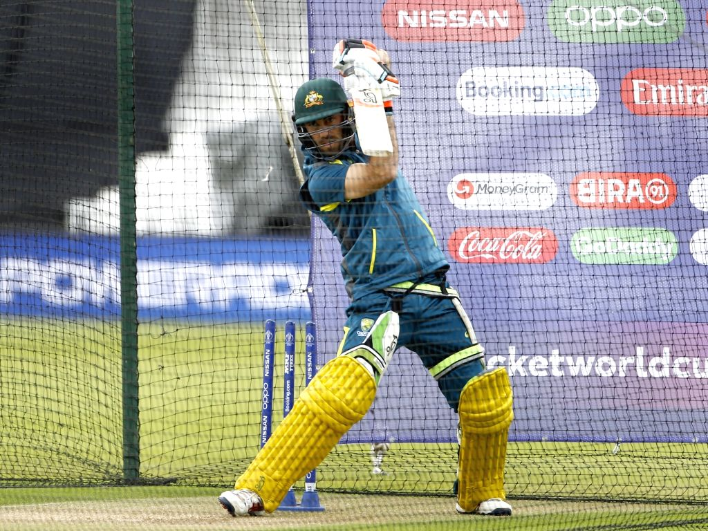 London: Australia's Glenn Maxwell during a practice session ahead of their 2019 ICC Cricket World Cup match against India, at the Oval in London on June 8, 2019. (Photo: Surjeet Yadav/IANS) - Surjeet Yadav