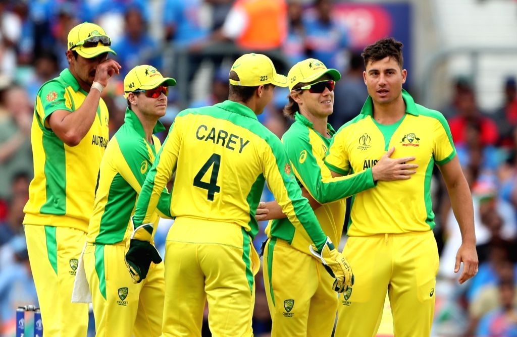 London: Australia's Marcus Stoinis celebrates fall of Virat Kohli's wicket during the 14th match of 2019 World Cup between India and Australia at Kennington Oval in London on June 9, 2019. (Photo: Surjeet Yadav/IANS) - Virat Kohli and Surjeet Yadav