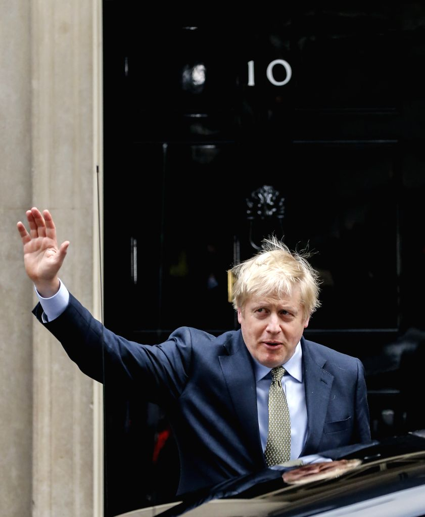 LONDON, Dec. 13, 2019 - British Prime Minister and Conservative Party leader Boris Johnson leaves 10 Downing Street to see the Queen in London, Britain, Dec. 13, 2019. British Prime Minister Boris ... - Boris Johnson