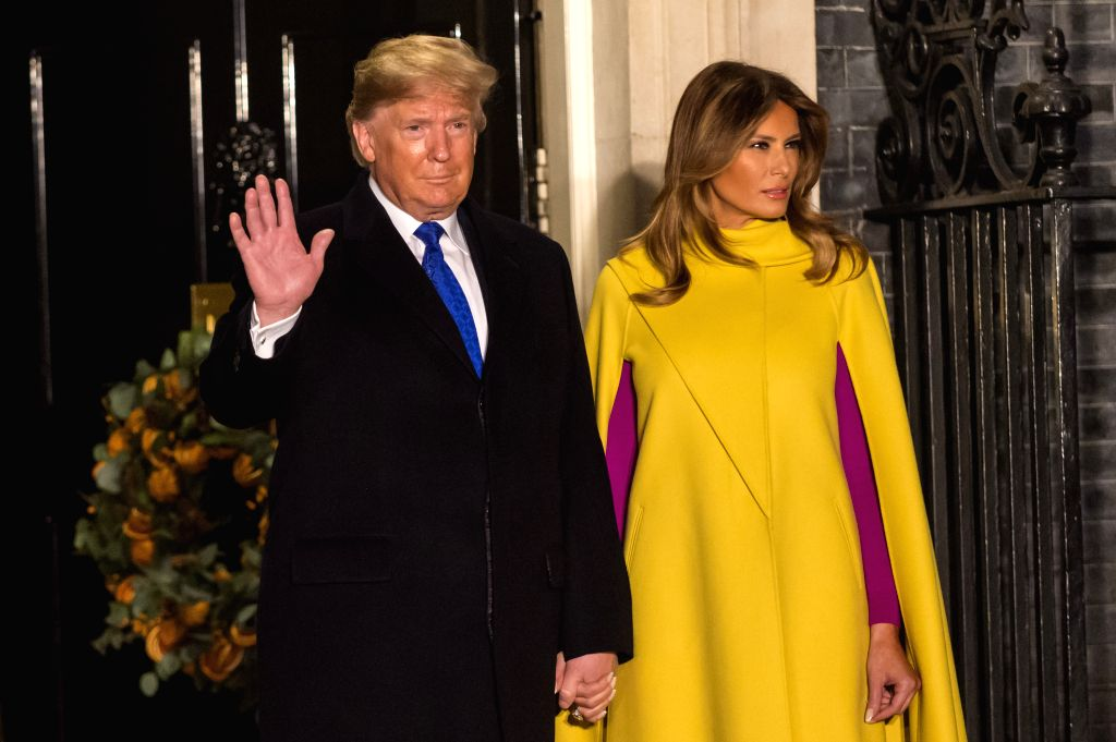 LONDON, Dec. 3, 2019 - U.S. President Donald Trump and First Lady Melania Trump arrive for a reception at 10 Downing Street in London, Britain, on Dec. 3, 2019.