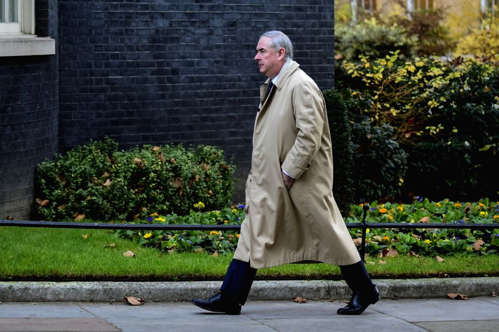 LONDON, Dec. 4, 2018 - Britain's Attorney General Geoffrey Cox arrives at 10 Downing Street for a cabinet meeting in London, Britain on Dec. 4, 2018. British MPs on Tuesday voted by 311 to 293 to ...