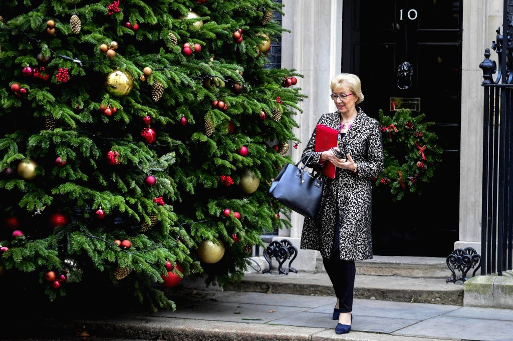 LONDON, Dec. 4, 2018 - Britain's er of the House of Commons Andrea som leaves 10 Downing Street after a cabinet meeting in London, Britain on Dec. 4, 2018. British MPs on Tuesday voted by 311 ...