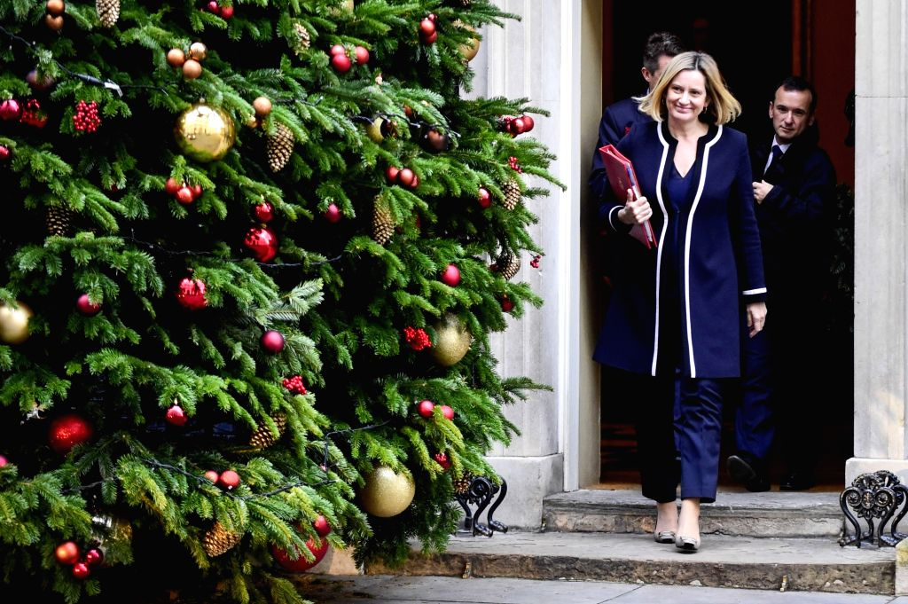LONDON, Dec. 4, 2018 - British Work and Pensions Secretary Amber Rudd leaves 10 Downing Street after a cabinet meeting in London, Britain on Dec. 4, 2018. British MPs on Tuesday voted by 311 to 293 ...