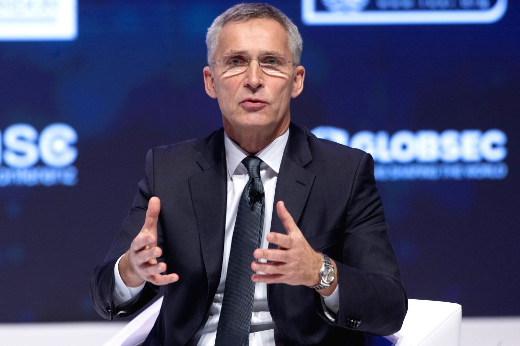 LONDON, Dec. 4, 2019 - NATO Secretary General Jens Stoltenberg makes a speech at the NATO Engages event in London, Britain on Dec. 3, 2019.
