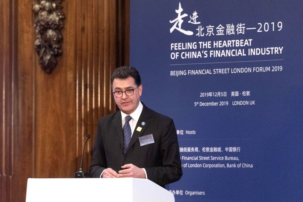 LONDON, Dec. 5, 2019 - Alderman Vincent Keaveny of the City of London addresses the Beijing Financial Street London Forum 2019 in London, Britain, Dec. 5, 2019. Beijing Financial Street and the City ...