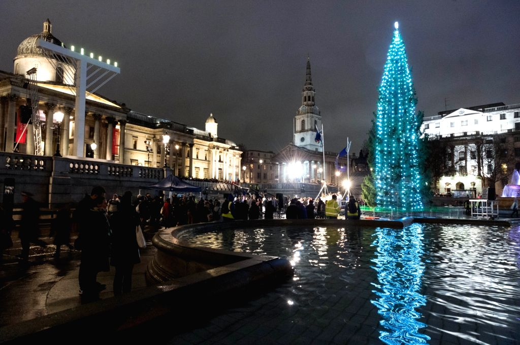 LONDON, Dec. 7, 2018 - The traditional Christmas tree lighting ceremony takes place at Trafalgar Square in London, Britain, on Dec. 6, 2018. Since 1947, Norway sends a Christmas tree to Britain as a ...