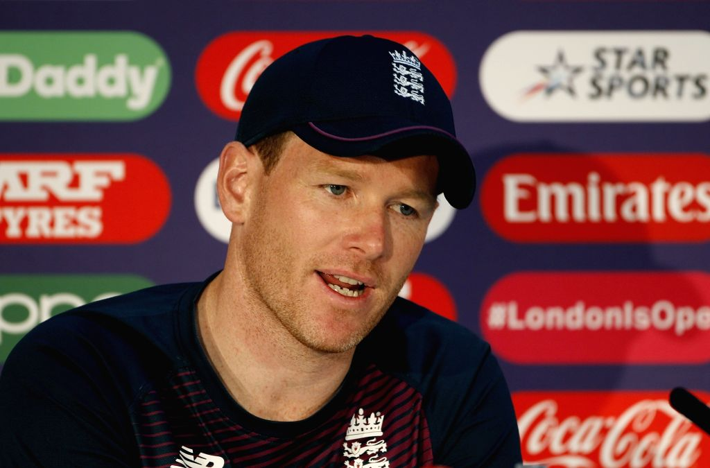 London: England Captain Eoin Morgan addresses a press conference ahead of World Cup 2019 Finals against New Zealand in London on July 13, 2019. (Photo: Surjeet Yadav/IANS) - Eoin Morgan and Surjeet Yadav