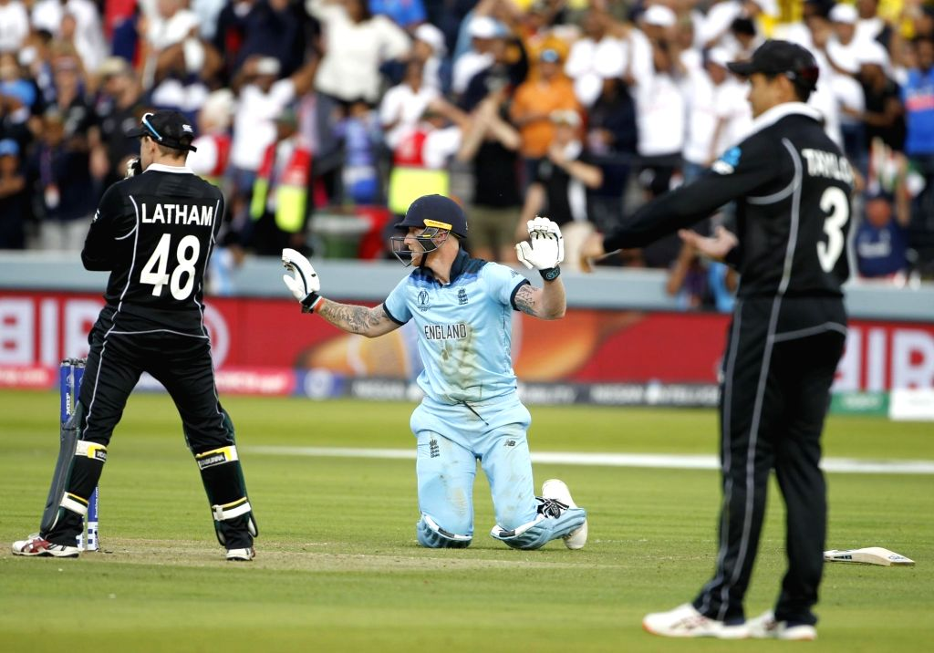 London: England's Ben Stokes reacts after scoring the fortunate four runs during the final match of the 2019 World Cup between New Zealand and England at the Lord's Cricket Stadium in London, England on July 14, 2019. (Photo: Surjeet Yadav/IANS) - Surjeet Yadav