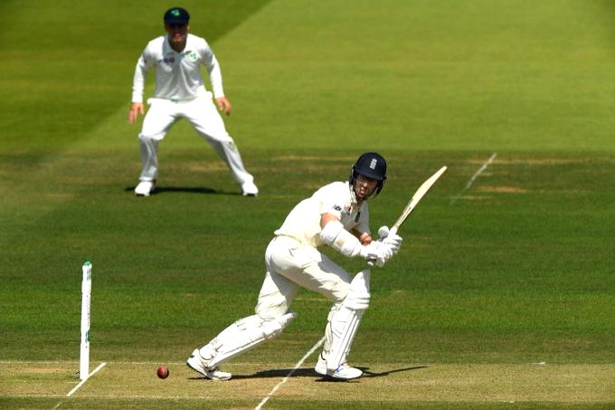 London: England's Jack Leach in action on day 2 of the only Test between Ireland and England at the Lord's Cricket Stadium in London, England on July 25, 2019. (Photo: Twitter/@ICC)