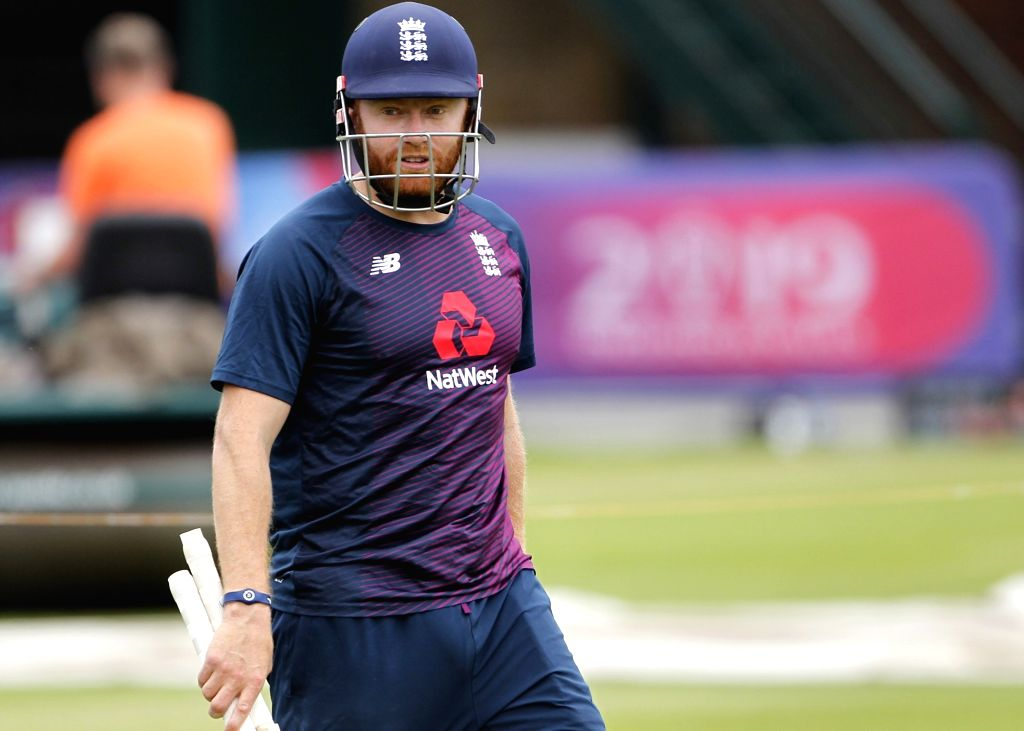 London: England's Jonny Bairstow during a practice session ahead of the final match of World Cup 2019 against New Zealand at Lord's cricket ground in London, on July 13, 2019. (Photo: Surjeet Kumar/IANS) - Surjeet Kumar