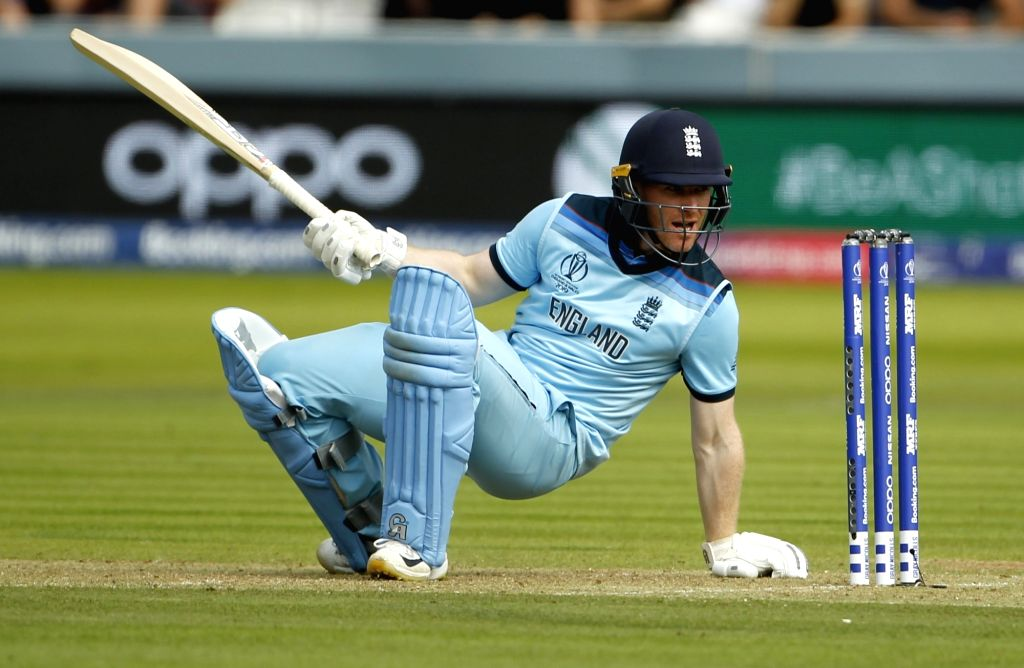 London: England's skipper Eoin Morgan during the final match of the 2019 World Cup between New Zealand and England at the Lord's Cricket Stadium in London, England on July 14, 2019. (Photo: Surjeet Yadav/IANS) - Surjeet Yadav
