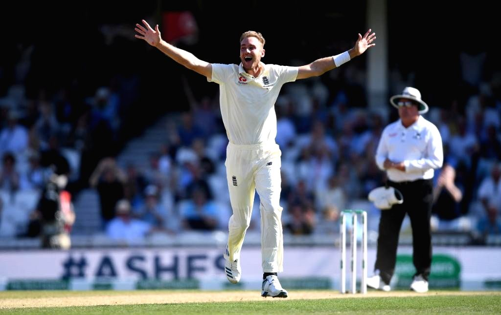 London: England's Stuart Broad celebrates fall of a wicket on Day 4 of the 5th Test match between England and Australia at Kennington Oval in London on Sep 15, 2019. (Photo: Twitter/@ICC)