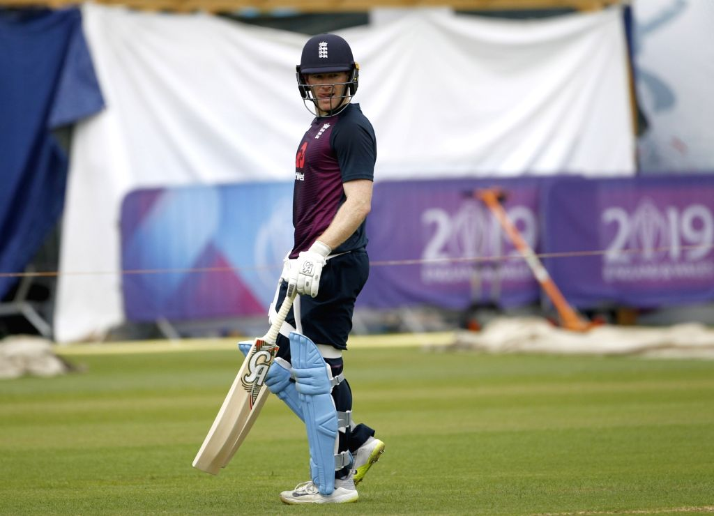 London: English captain Eoin Morgan during a practice session ahead of the final match of World Cup 2019 against New Zealand at Lord's cricket ground in London, on July 13, 2019. (Photo: Surjeet Kumar/IANS) - Eoin Morgan and Surjeet Kumar
