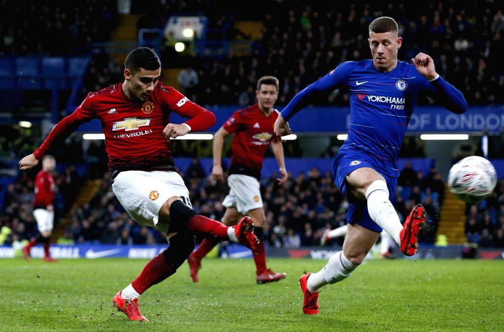 LONDON, Feb. 19, 2019 - Manchester United's Andreas Pereira (L) vies with Chelsea's Ross Barkley during the FA Cup fifth round match between Chelsea and Manchester United in London, Britain on Feb. ...