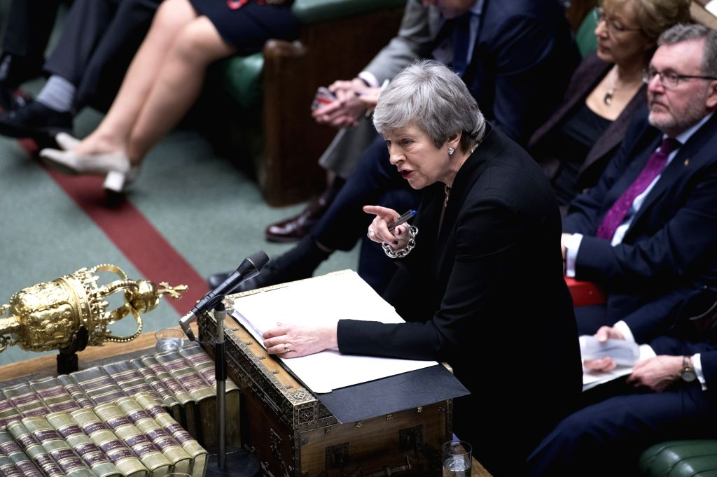 LONDON, Feb. 20, 2019 - British Prime Minister Theresa May attends the Prime Minister's Questions in the House of Commons in London, Britain, on Feb. 20, 2019. Theresa May arrived in Brussels for ... - Theresa May