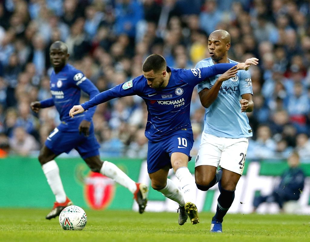 LONDON, Feb. 25, 2019 - Chelsea's Eden Hazard vies with Manchester City's Fernandinho (R) during the Carabao Cup Final match between Chelsea and Manchester City at Wembley Stadium in London, Britain ...