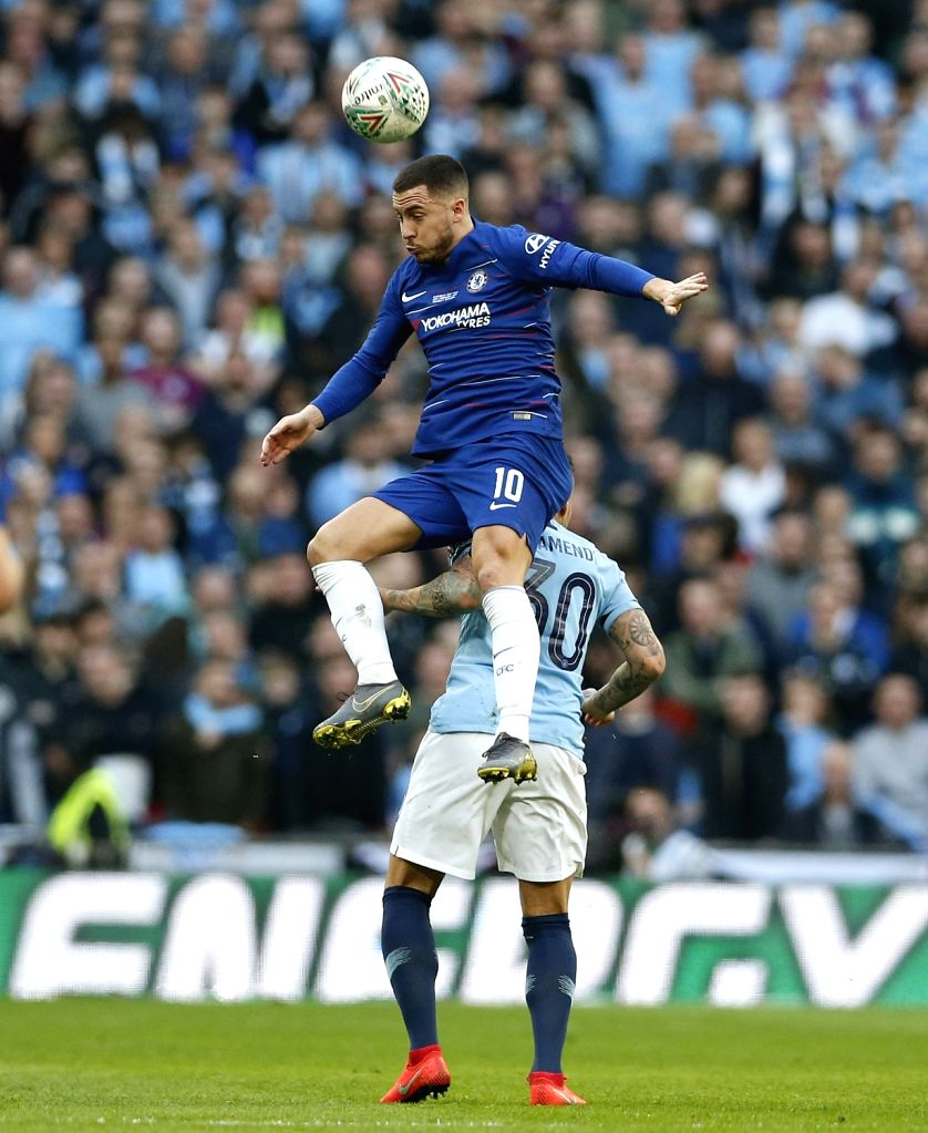 LONDON, Feb. 25, 2019 - Chelsea's Eden Hazard vies with Manchester City's Nicolas Otamendi during the Carabao Cup Final match between Chelsea and Manchester City at Wembley Stadium in London, Britain ...