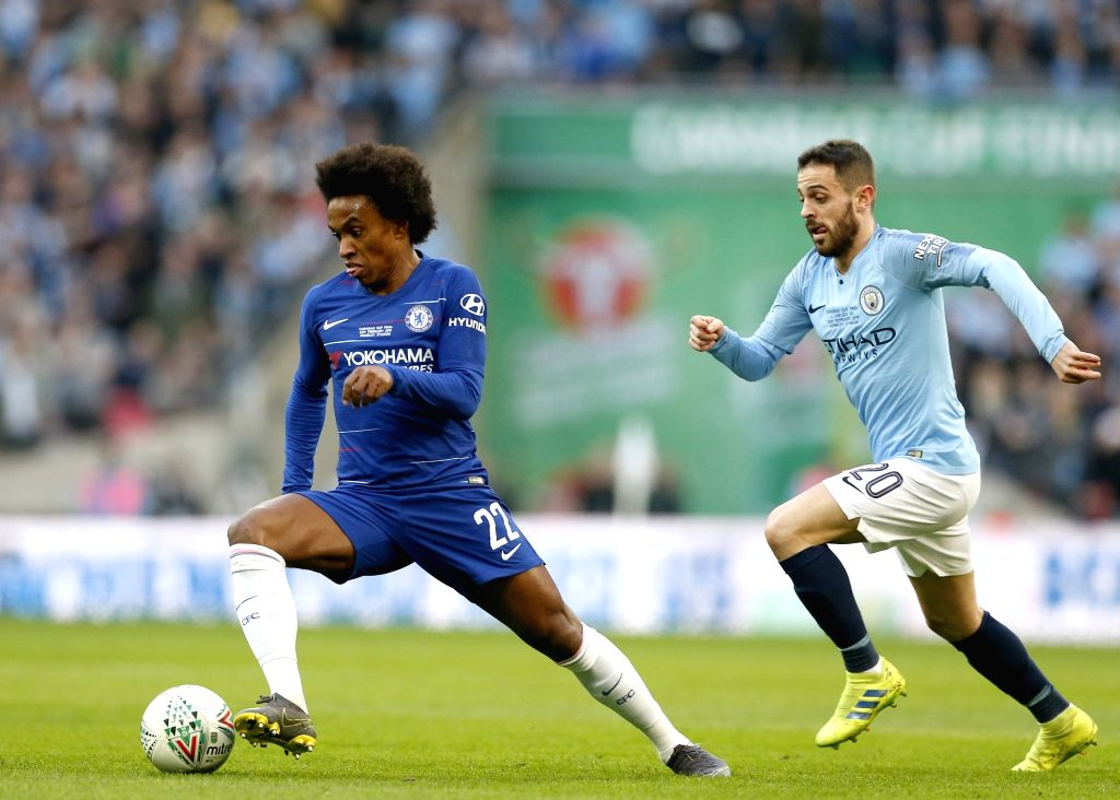 LONDON, Feb. 25, 2019 - Cheslea's Willian gets away from Manchester City's Bernardo Silva during the Carabao Cup Final match between Chelsea and Manchester City at Wembley Stadium in London, Britain ...