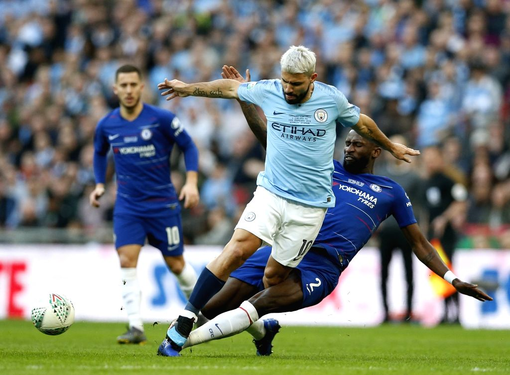 LONDON, Feb. 25, 2019 - Manchester City's Sergio Aguero (C) is tackled by Chelsea's Antonio Rudiger (R) during the Carabao Cup Final match between Chelsea and Manchester City at Wembley Stadium in ...