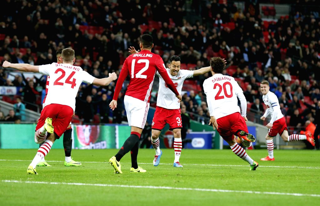 LONDON, Feb. 27, 2017 - Southampton's Manolo Gabbiadini (2nd R) celebrates after scoring during the EFL Cup Final between Manchester United and Southampton at Wembley Stadium in London, Britain on ...