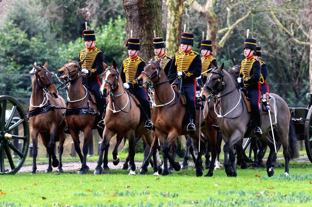 LONDON, Feb. 6, 2019 - Members of the King's Troop Royal Horse Artillery take part in a gun salute to mark Queen Elizabeth II's 67th anniversary of her accession to the throne at Green Park in ...