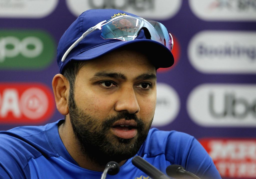 London: India's Rohit Sharma addresses a press conference ahead of World Cup 2019 match against Australia in London on June 8, 2019.(Photo: Surjeet Yadav/IANS) - Rohit Sharma and Surjeet Yadav