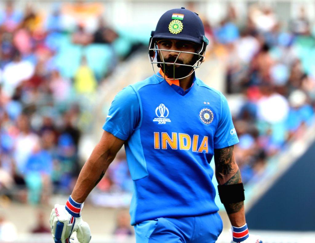 London: India's Virat Kohli during the first warm-up match between India and New Zealand at the Kennington Oval,  London on May 25, 2019. (Photo: IANS) - Virat Kohli