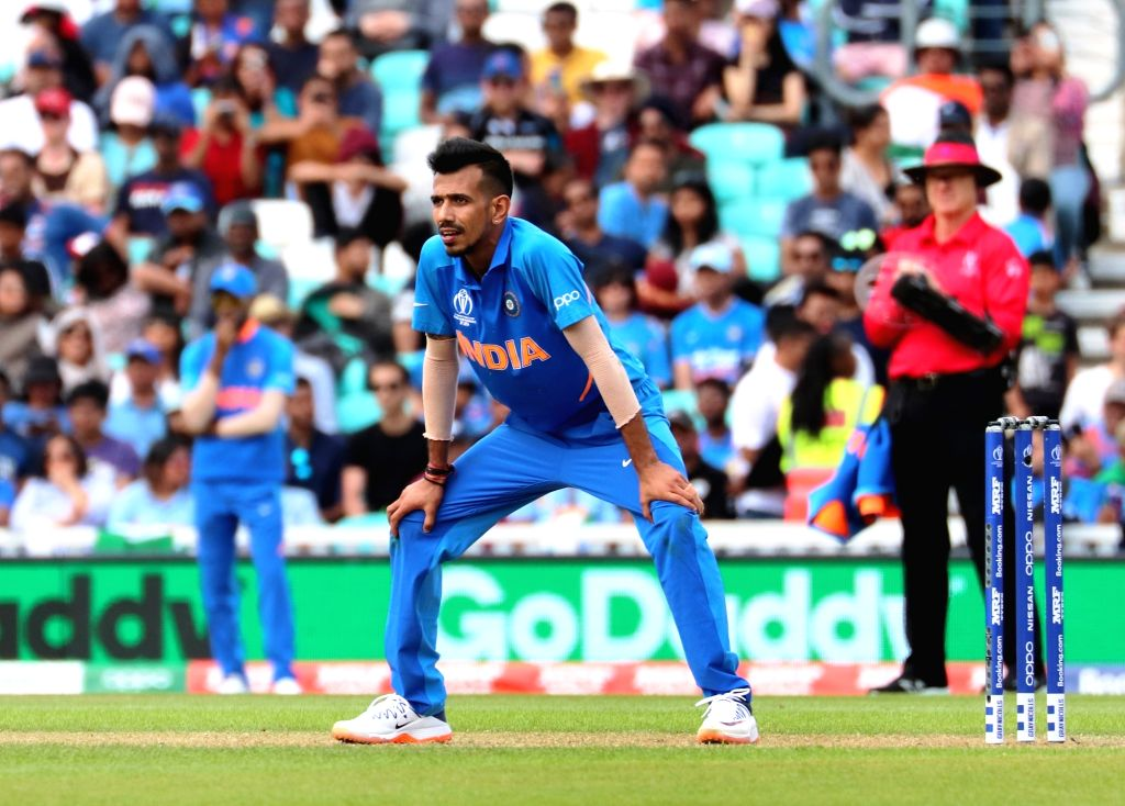 London: India's Yuzvendra Chahal in action during the first warm-up match between India and New Zealand at the Kennington Oval,  London on May 25, 2019. (Photo: IANS)